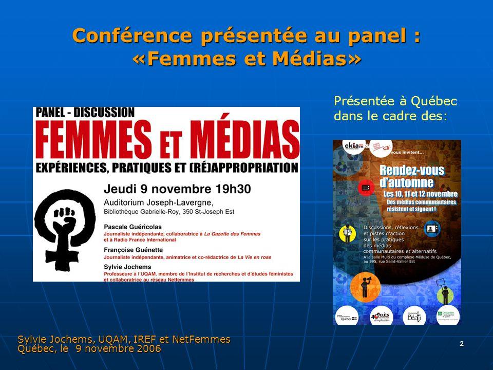 Conférence présentée au panel : «Femmes et Médias»