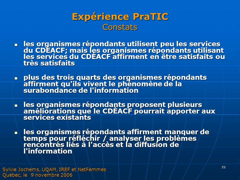 Expérience PraTIC Constats