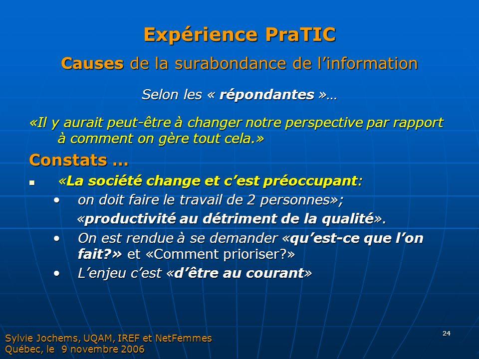 Expérience PraTIC Causes de la surabondance de l'information