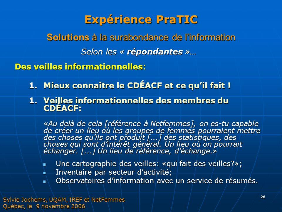 Expérience PraTIC Solutions à la surabondance de l'information