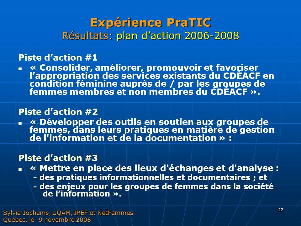 Expérience PraTIC Résultats: plan d'action 2006-2008