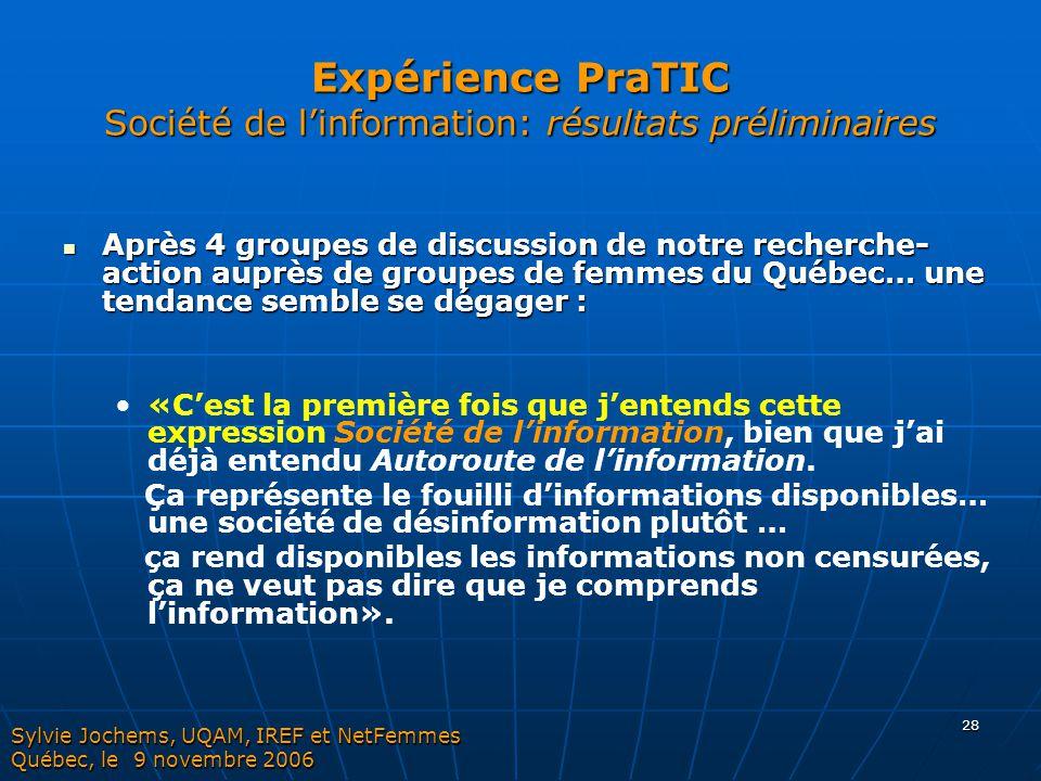Expérience PraTIC Société de l'information: résultats préliminaires