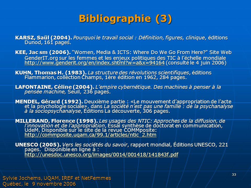 Bibliographie (3) KARSZ, Saül (2004). Pourquoi le travail social : Définition, figures, clinique, éditions Dunod, 161 pages.