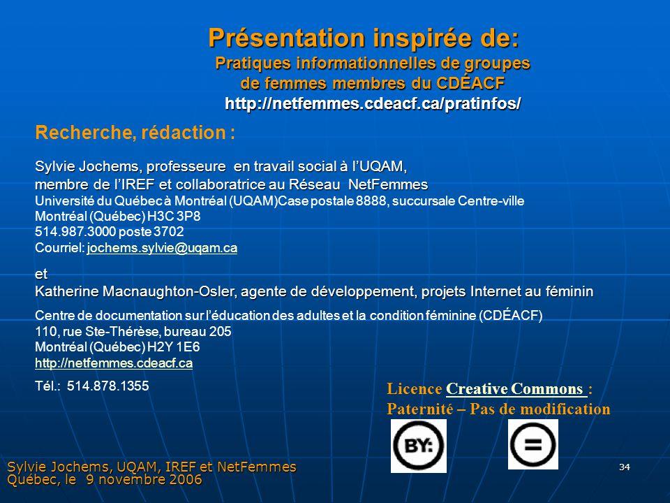 Sylvie Jochems, UQAM, IREF et NetFemmes Québec, le 9 novembre 2006