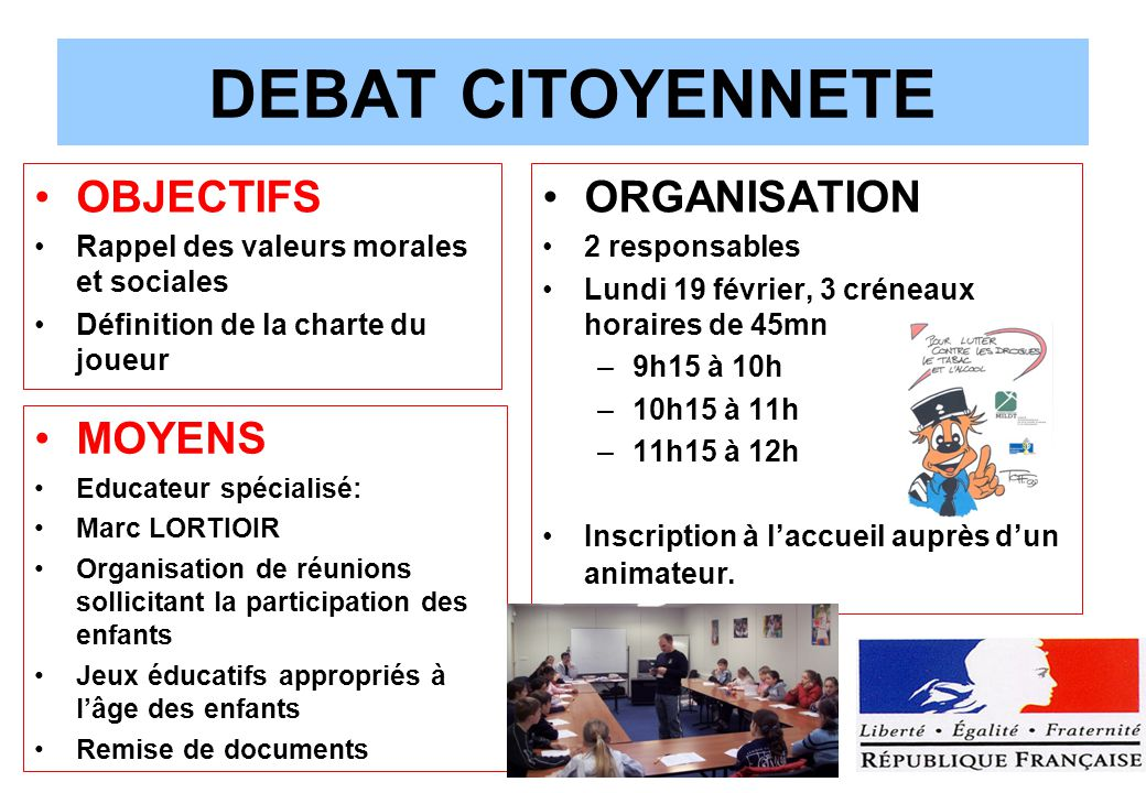 DEBAT CITOYENNETE OBJECTIFS ORGANISATION MOYENS