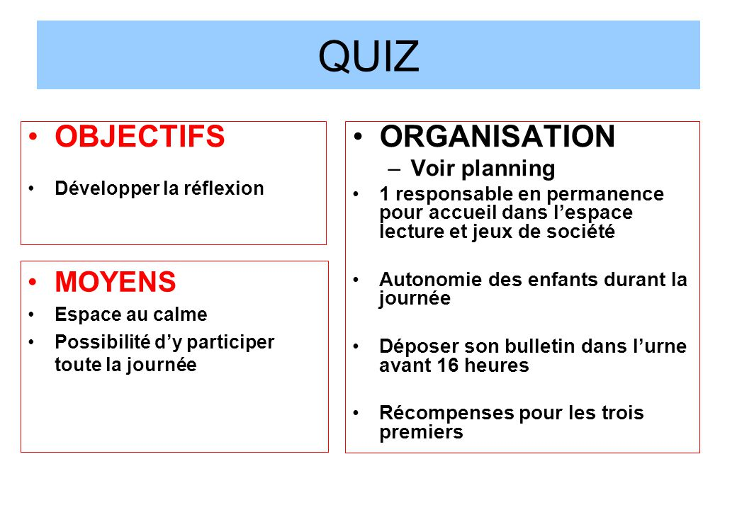 QUIZ OBJECTIFS ORGANISATION MOYENS Voir planning