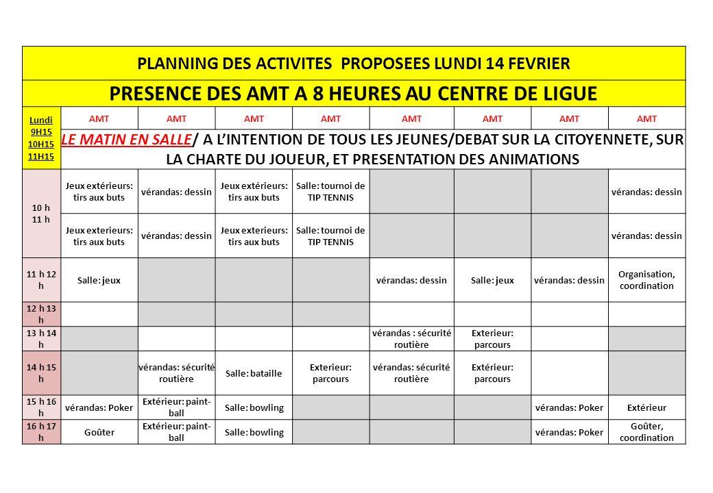 PRESENCE DES AMT A 8 HEURES AU CENTRE DE LIGUE