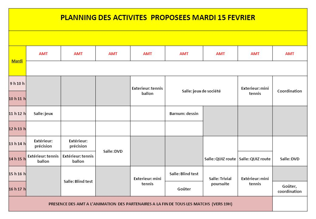 PLANNING DES ACTIVITES PROPOSEES MARDI 15 FEVRIER