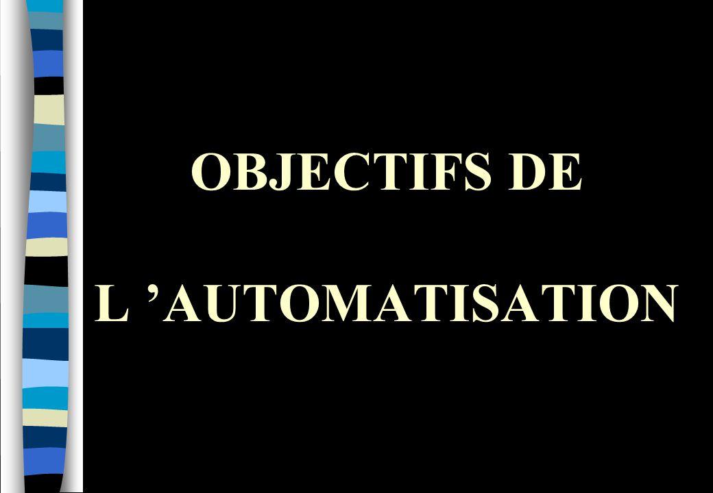 OBJECTIFS DE L 'AUTOMATISATION