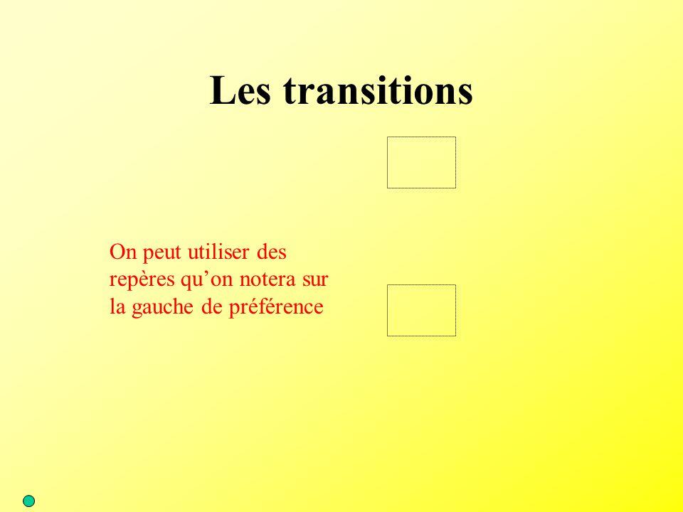 Les transitions On peut utiliser des repères qu'on notera sur la gauche de préférence