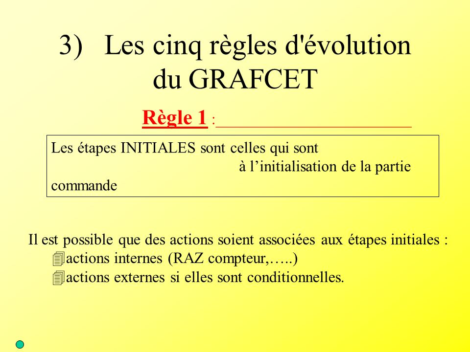 3) Les cinq règles d évolution du GRAFCET