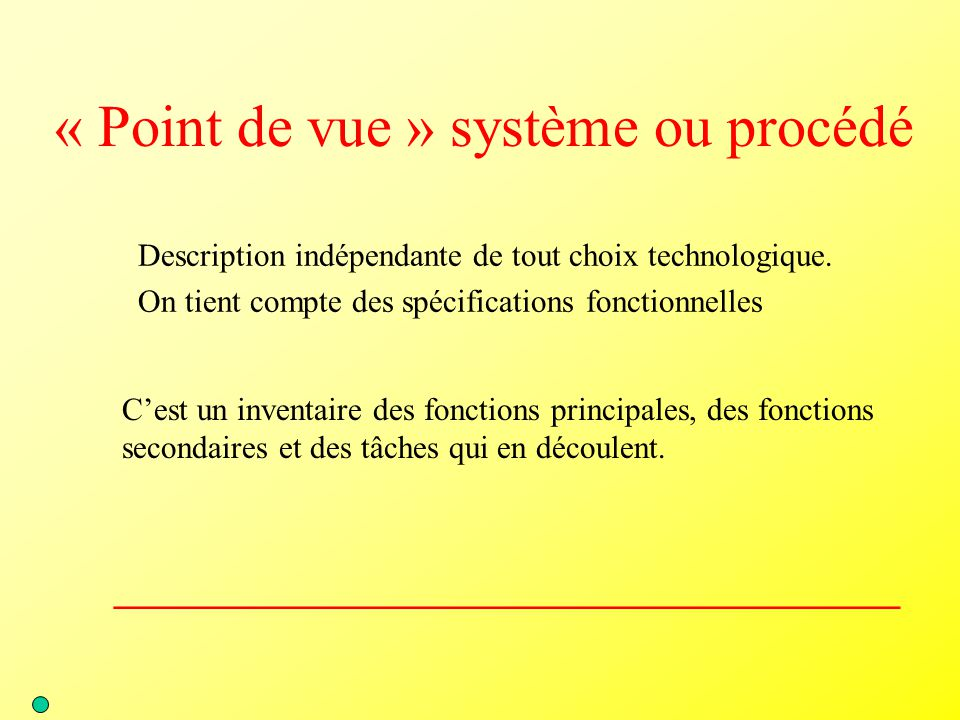 « Point de vue » système ou procédé
