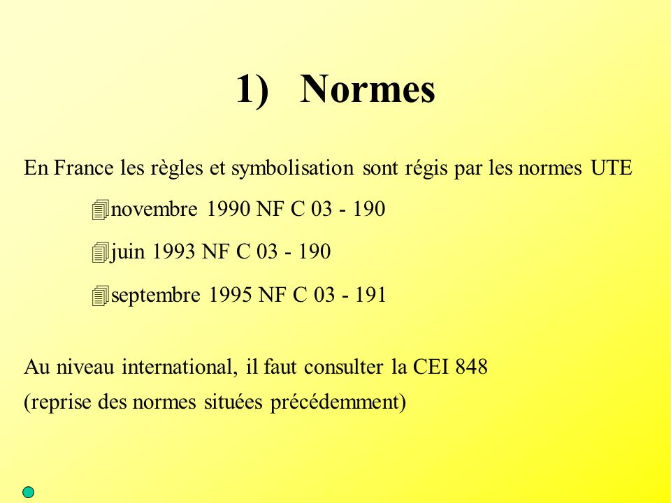 1) Normes En France les règles et symbolisation sont régis par les normes UTE. novembre 1990 NF C 03 - 190.