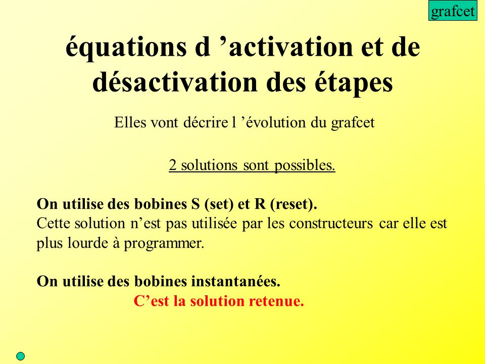 équations d 'activation et de désactivation des étapes