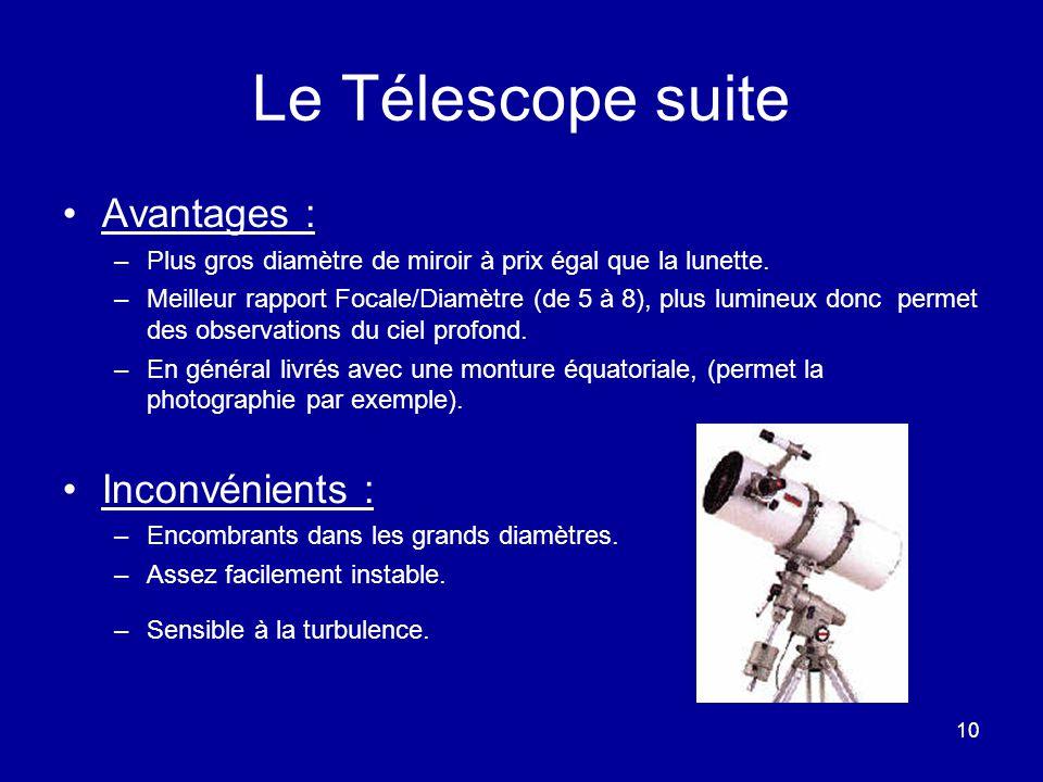 Le Télescope suite Avantages : Inconvénients :