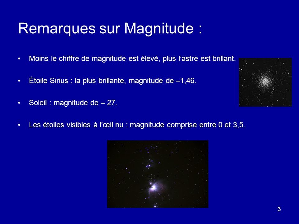 Remarques sur Magnitude :