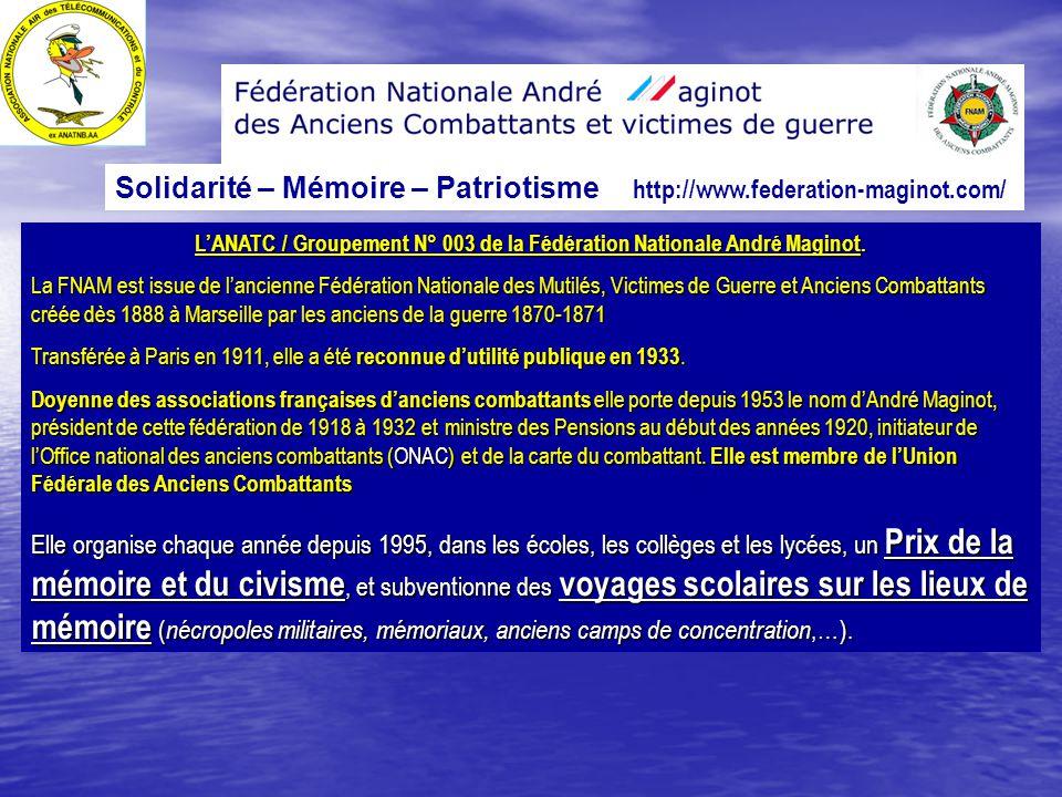 A n a t c affili e la f d ration nationale andr - Office departemental des anciens combattants ...