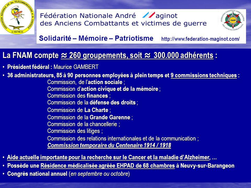 La FNAM compte ≈ 260 groupements, soit ≈ 300.000 adhérents :