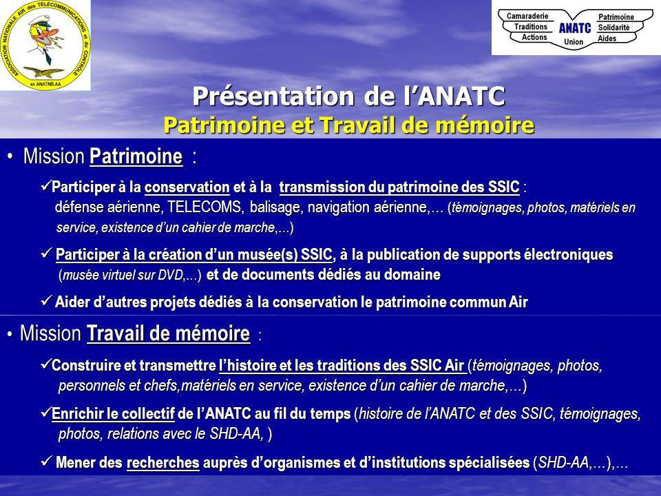 Présentation de l'ANATC Patrimoine et Travail de mémoire