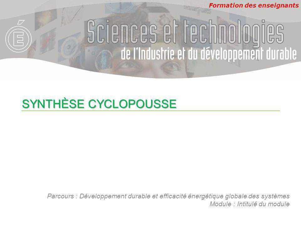 SYNTHÈSE CYCLOPOUSSE Parcours : Développement durable et efficacité énergétique globale des systèmes.