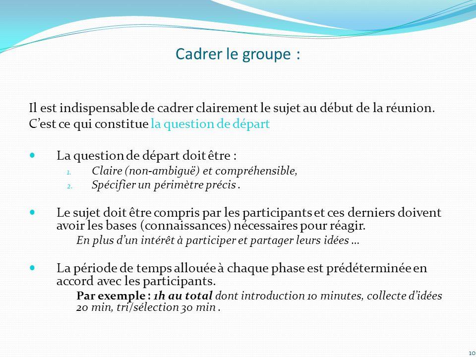 Cadrer le groupe : Il est indispensable de cadrer clairement le sujet au début de la réunion. C'est ce qui constitue la question de départ.