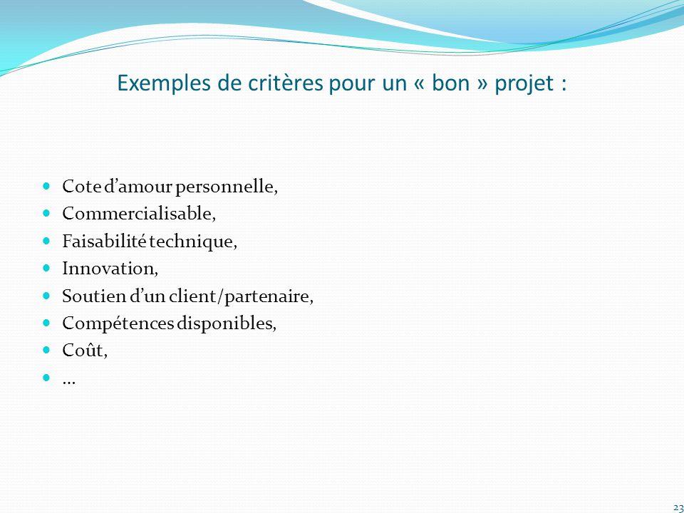 Exemples de critères pour un « bon » projet :