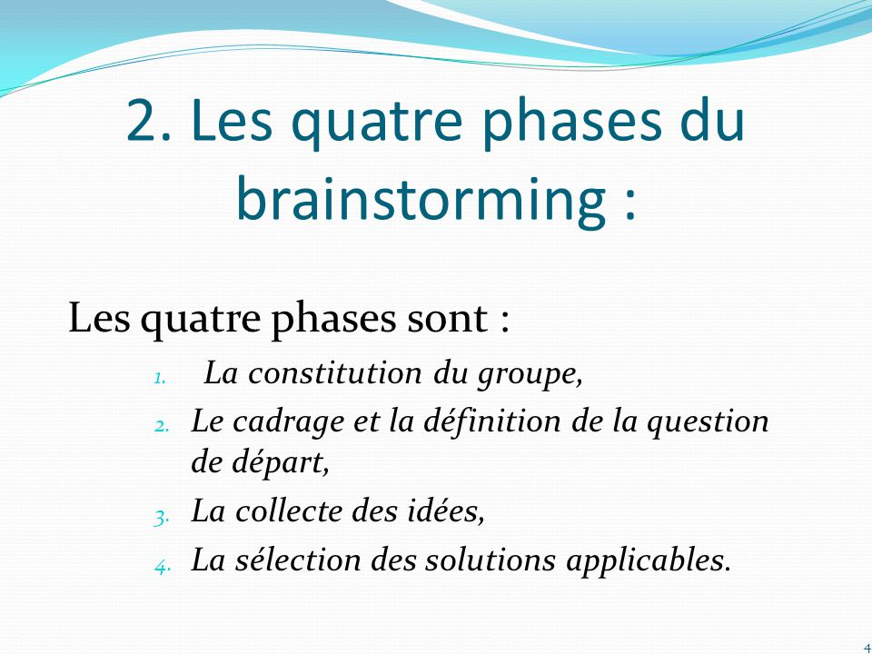 2. Les quatre phases du brainstorming :