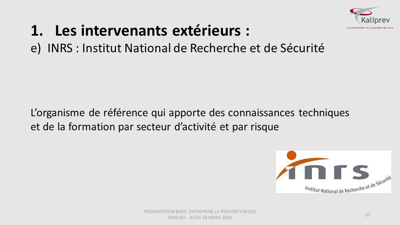 INRS : Institut National de Recherche et de Sécurité