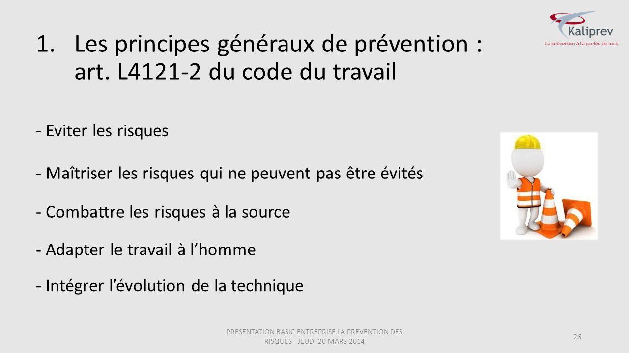 Les principes généraux de prévention : art. L4121-2 du code du travail
