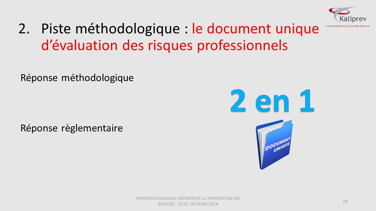 Piste méthodologique : le document unique d'évaluation des risques professionnels