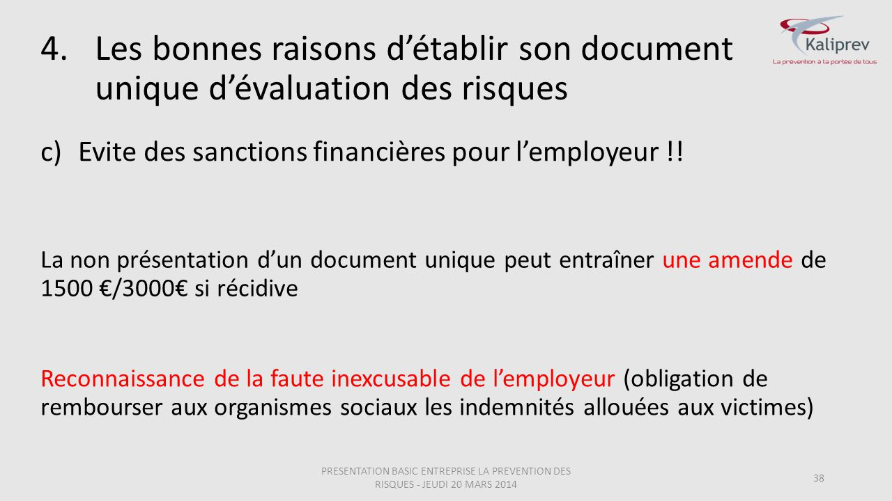 Evite des sanctions financières pour l'employeur !!