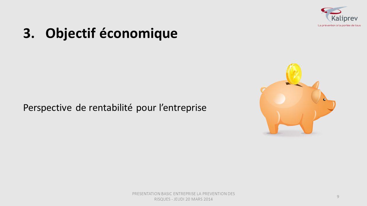 Objectif économique Perspective de rentabilité pour l'entreprise