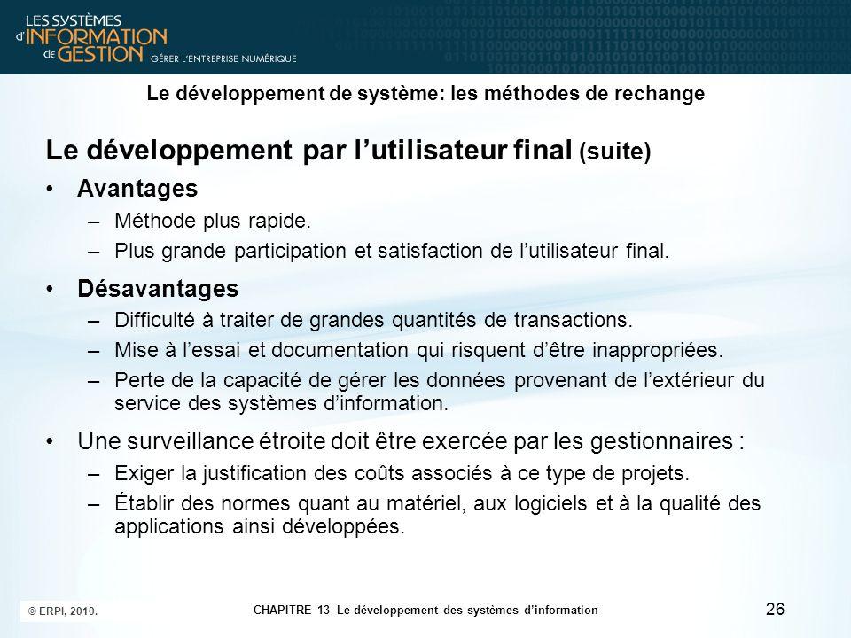 Le développement de système: les méthodes de rechange