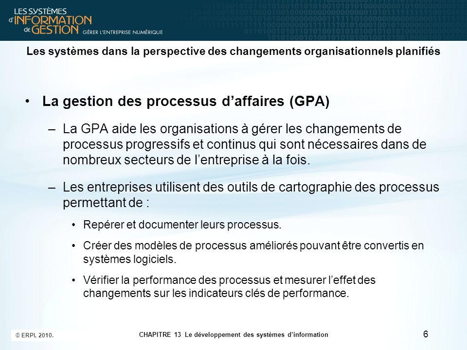La gestion des processus d'affaires (GPA)
