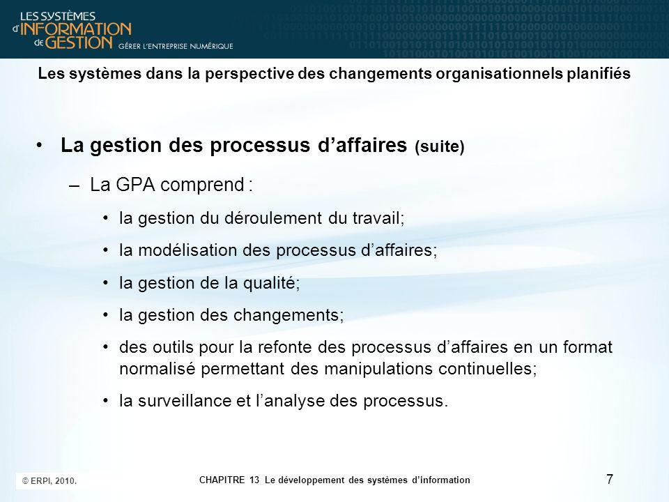 La gestion des processus d'affaires (suite)