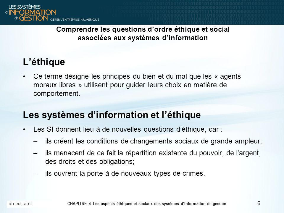 Les systèmes d'information et l'éthique