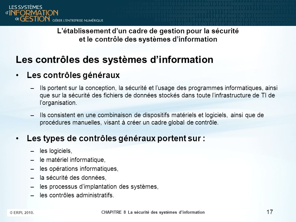Les contrôles des systèmes d'information
