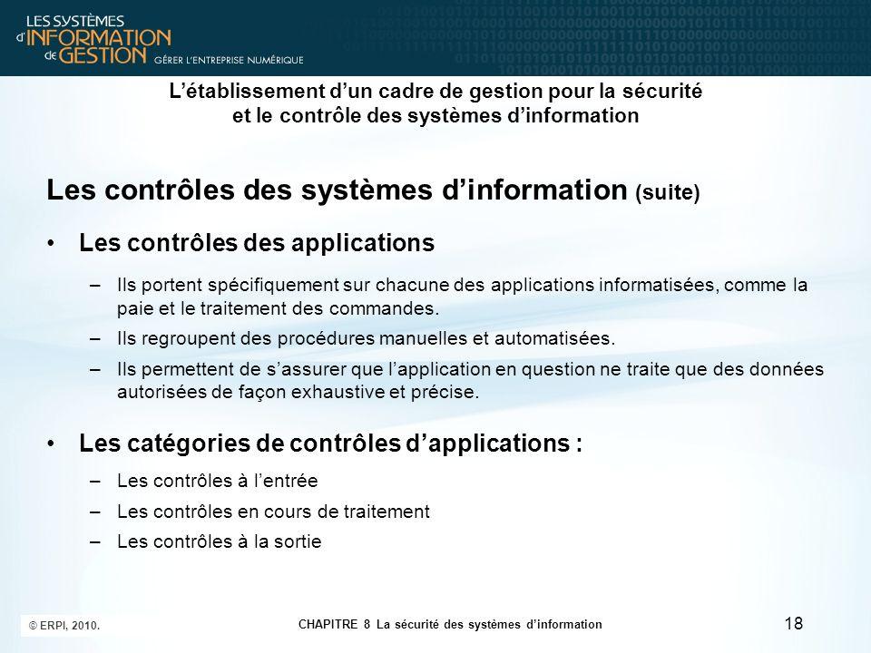Les contrôles des systèmes d'information (suite)