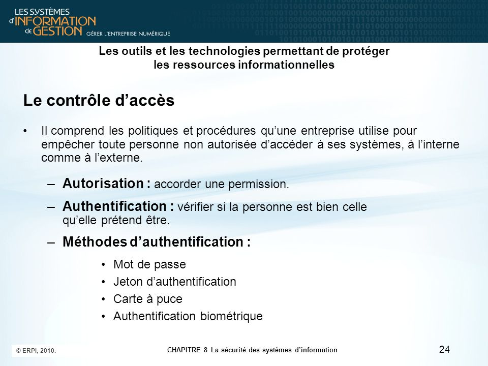 Le contrôle d'accès Autorisation : accorder une permission.