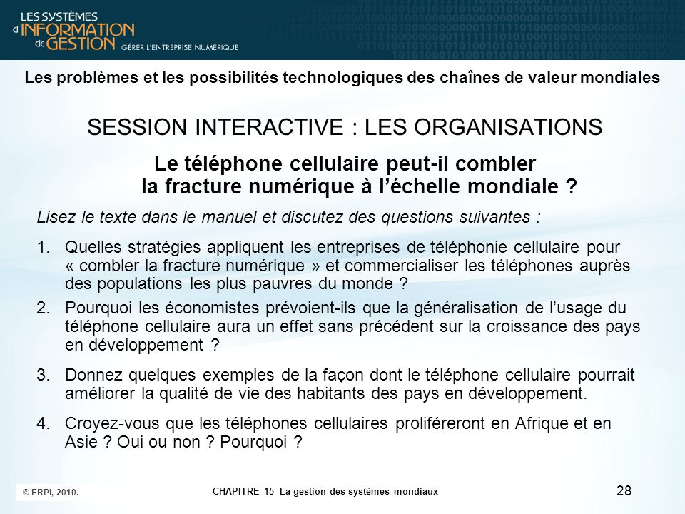 SESSION INTERACTIVE : LES ORGANISATIONS