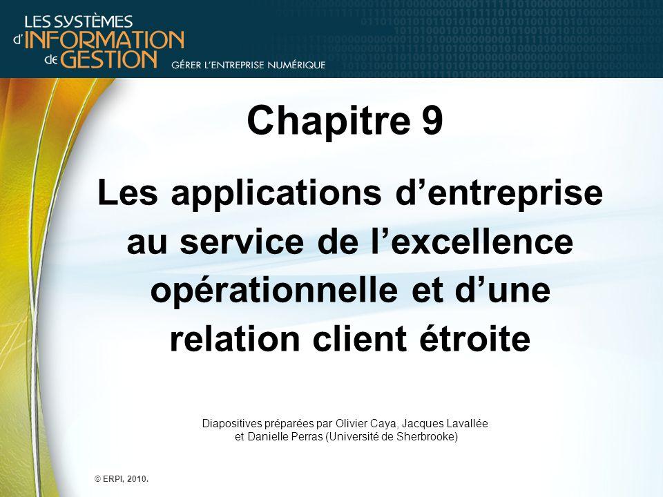 Chapitre 9 Les applications d'entreprise au service de l'excellence opérationnelle et d'une relation client étroite