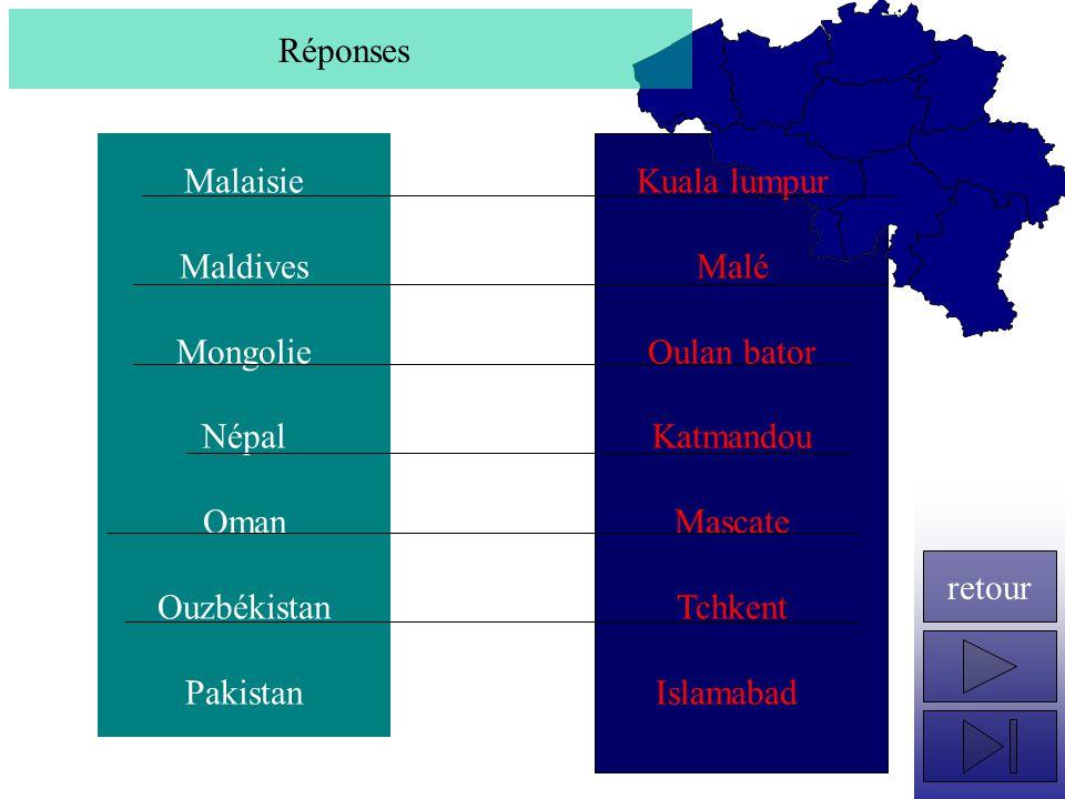Réponses Malaisie. Maldives. Mongolie. Népal. Oman. Ouzbékistan. Pakistan. Kuala lumpur. Malé.