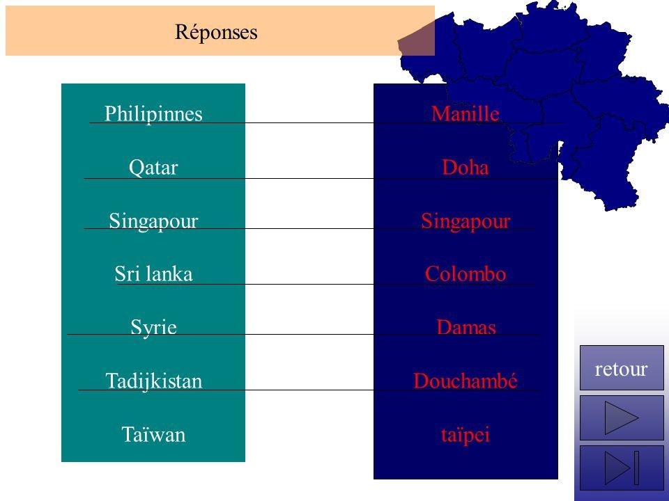 Réponses Philipinnes. Qatar. Singapour. Sri lanka. Syrie. Tadijkistan. Taïwan. Manille. Doha.
