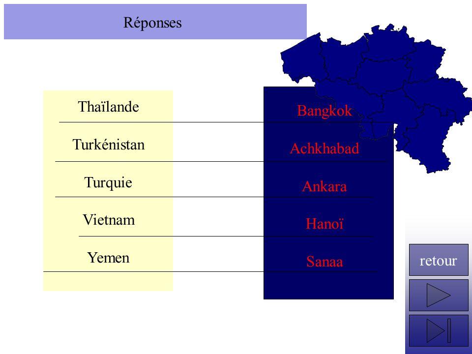Réponses Thaïlande Turkénistan Turquie Vietnam Yemen Bangkok Achkhabad Ankara Hanoï Sanaa retour