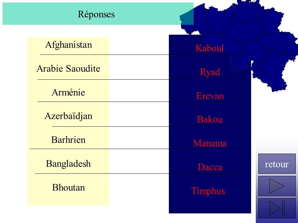 Réponses Kaboul. Ryad. Erevan. Bakou. Manama. Dacca. Timphus. Afghanistan. Arabie Saoudite.