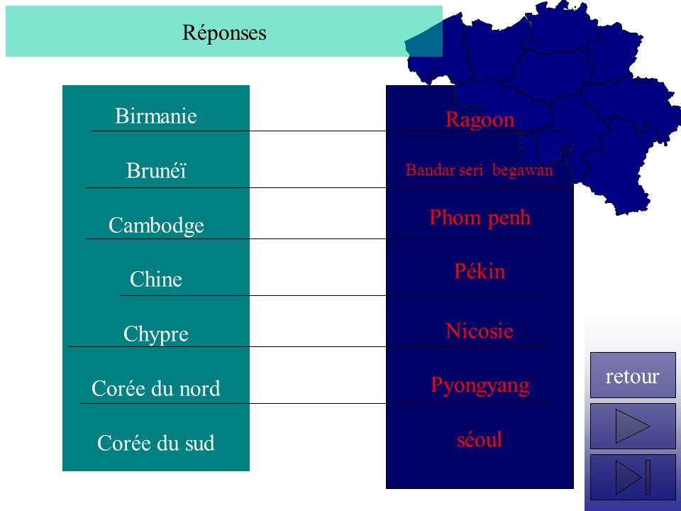 Réponses Birmanie Ragoon Brunéï Phom penh Cambodge Pékin Chine Chypre