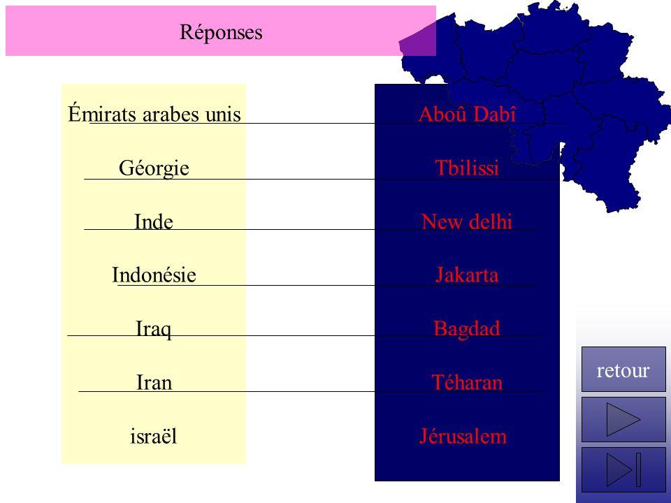 Réponses Émirats arabes unis. Géorgie. Inde. Indonésie. Iraq. Iran. israël. Aboû Dabî. Tbilissi.