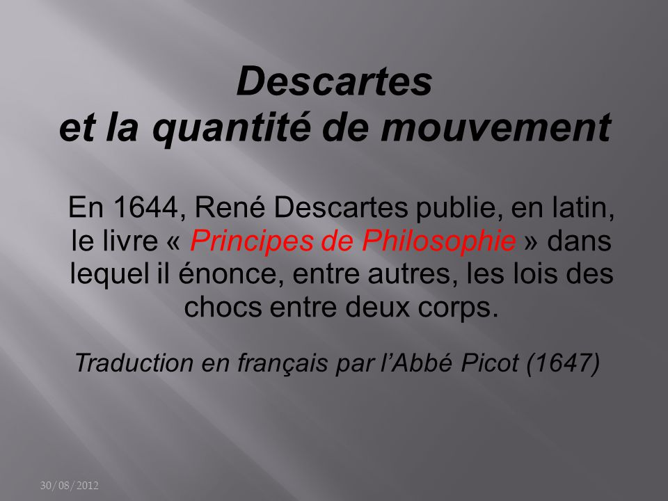 Descartes et la quantité de mouvement