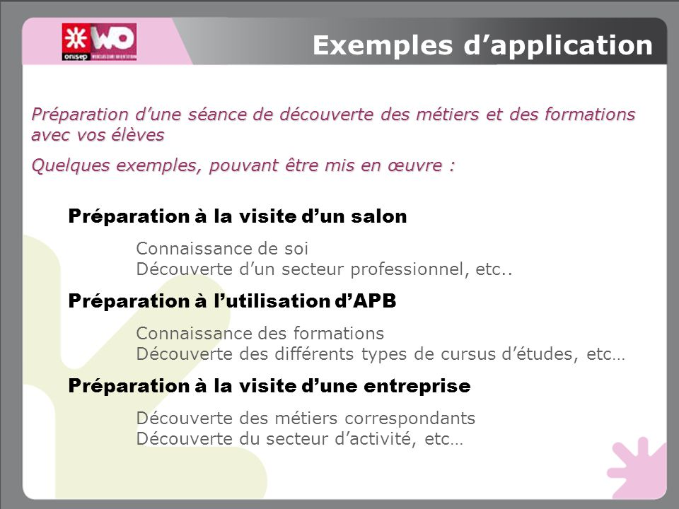 Exemples d'application