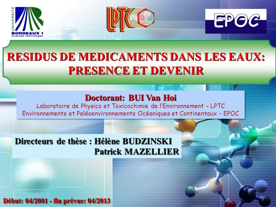 RESIDUS DE MEDICAMENTS DANS LES EAUX: PRESENCE ET DEVENIR
